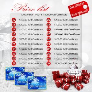 Christmas Give Away Prize List